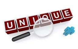 Unique person concept. 3d red unique letter blocks sign with single person and magnifying glass seen from elevated view, white background vector illustration