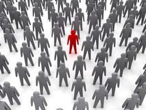Unique person in crowd. Concept 3D illustration Stock Images