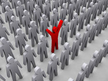 Unique person in crowd. Concept 3D illustration Stock Photography