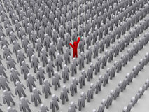 Unique person in crowd. stock illustration