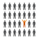 Unique person in the crowd. Vector illustration Stock Photos