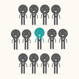 Unique person in the crowd. Vector illustration Stock Photography