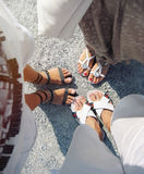 Unique perspective of people's foot on the road as tourists whil. E vacation travel, travel concept stock photos