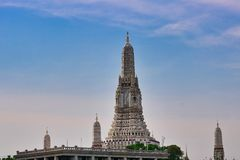 Wat Arun in Bangkok Thailand. This unique photo shows the Buddhist landmark of Bangkok the Wat Arun temple stock image