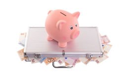 Unique pink ceramic piggy bank Royalty Free Stock Photo