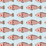 Unique Pink Fish Cute Illustration Seamless Pattern Vector. Stock Images