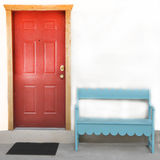 Unique Porch. Just a porch with a red door, blue bench and black door mat Royalty Free Stock Photos