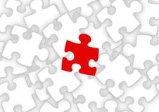 Unique Puzzle Piece. Puzzle pieces with one standing out from the rest vector illustration