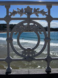 Unique railing along Playa de la Concha, San Sebastian, Spain Stock Photos
