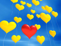 Unique Red Balloon. An illustration of a unique red heart shaped balloon amongst many yellow heart shaped balloons Stock Photos