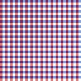 Red, White, and Blue Gingham Seamless Pattern. Unique red and blue gingham check lines weaving on white background seamless pattern Royalty Free Stock Photo
