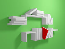 Unique red book among usual white books. White bookshelf on green wall with blank white books and one falling red book. 3d rendered Stock Images