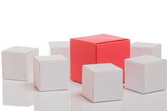 Unique red box. With white boxes on isolated background Royalty Free Stock Photos