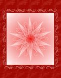 Unique Red Christmas Card Background. A background illustration featuring a unique Christmas design in red and pink with swirl border and star center Stock Photos