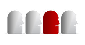 Unique red face among white. Side illustration of four pessimistic faces with one optimistic red one among gray ones, white studio background Stock Photos