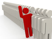 Unique red person stepping out from row of people Stock Photo