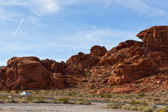 The unique red sandstone rock formations. Stock Photo