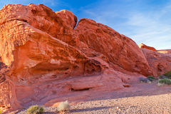 The unique red sandstone rock formations in Valley of Fire State Royalty Free Stock Photos