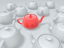Unique red teapot. In group of white teapots Stock Image