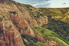 Unique reddish sandstone cliffs Royalty Free Stock Images