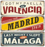 Unique retro tin sign collection with cities in Spain Royalty Free Stock Photography