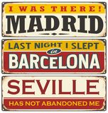 Unique retro tin sign collection with cities in Spain Royalty Free Stock Image