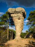 Unique rock formations in enchanted city of Cuenca, Castilla la Stock Image