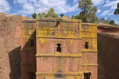 Unique rock-hewn Church of St. George (Bete Giyorgis), UNESCO World heritage, Lalibela, Ethiopia. Royalty Free Stock Photo