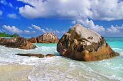 Unique rocky beaches of Seychelles Stock Photos