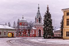 Unique round Orthodox Church St. Peter and Paul in Hamina Stock Photos