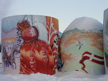 Unique Russia. Winter and a half of russian doll. Royalty Free Stock Photos