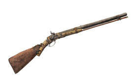 Unique rustic vintage rifle isolated. Royalty Free Stock Photos