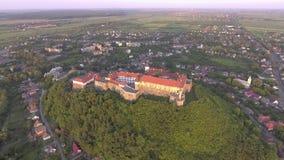 The unique sample of fortification architecture. the Palanok Castle. Mukachevo, Ukraine stock footage