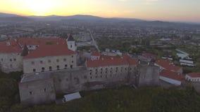 The unique sample of fortification architecture. the Palanok Castle. Mukachevo, Ukraine stock video footage