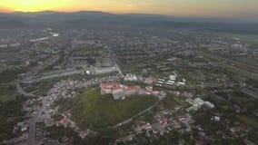 The unique sample of fortification architecture. the Palanok Castle. Mukachevo, Ukraine stock video