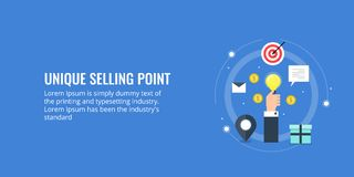 Unique selling point - USP, marketing for business branding. Flat design vector banner. Unique selling point concept, business branding, product selling ideas stock illustration