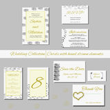 Unique set of wedding  invitation cards with hand drawn elements. Stock Photography