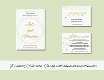 Unique set of wedding  invitation cards with hand drawn elements. Royalty Free Stock Images