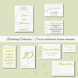 Unique set of wedding  invitation cards with hand drawn elements. Royalty Free Stock Photos