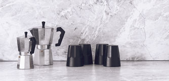 Unique sets of coffee pots and cups Royalty Free Stock Photography