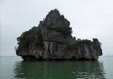 Unique shaped islands of ha long bay Vietnam Royalty Free Stock Images
