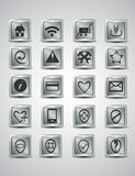 Unique silver metallic icon set for your webpage. With shadow Stock Image