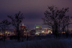 Unique skyline of Boise with winter foothills. Boise foothills and city skyline in winter with snow on the ground royalty free stock photography