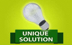 UNIQUE SOLUTION concept with banner and light bulb. UNIQUE SOLUTION concept with green text banner and 3d rendered domestic light bulb, isolated with a glow Royalty Free Stock Images