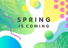 Unique spring card. With bright gradient background,tiny leaves,fluid shapes and geometric elements in memphis style.Bright abstract layout perfect for prints vector illustration