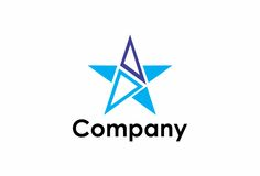 Unique star logo. A star logo in blue colors that can be used in various trades and industries Stock Images