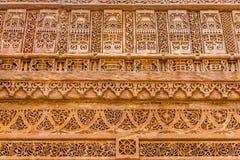 Unique stone carving at Adalaj ni Vav. Royalty Free Stock Image