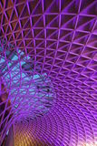 Unique Structure at Concourse of London King Cross. Railway Station in Evening with Blue Purple Highlight Stock Images