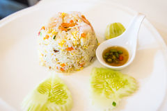 Unique style Thai shrimp fried rice serves Royalty Free Stock Photography