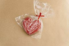 Unique stylish red heart cookie, valentines day concept gift Stock Photography